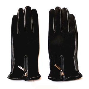 Image 5 - Sheepskin gloves women thickening autumn and winter warm new suede gloves fashion zipper style leather finger gloves
