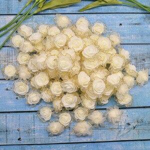 Image 3 - 20pcs 4cm שוליים נצנצים משי קצף פרחי DIY בעבודת יד מלאכותי עלה פרח ראשים לחתונה טוטו קישוט ראש פרחים