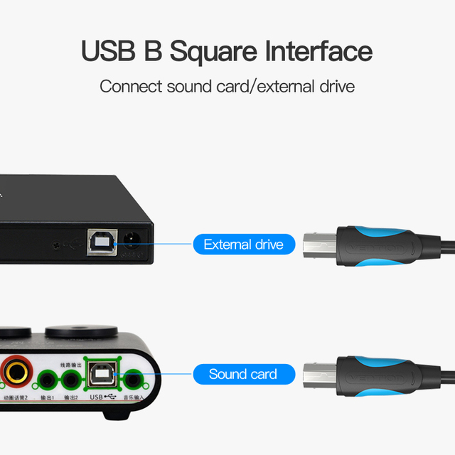 Vention USB 2.0 Printer Cable Type A to B Male to Male Print Cable Sync Data Charging Cord 1m 1.5m 2m 3m For Camera Epson HP USB