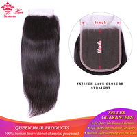 Queen Hair 5x5 Lace Closure Straight Human Hair Closure With Baby Hair Medium Brown Swiss Color Brazilian Hair Closure