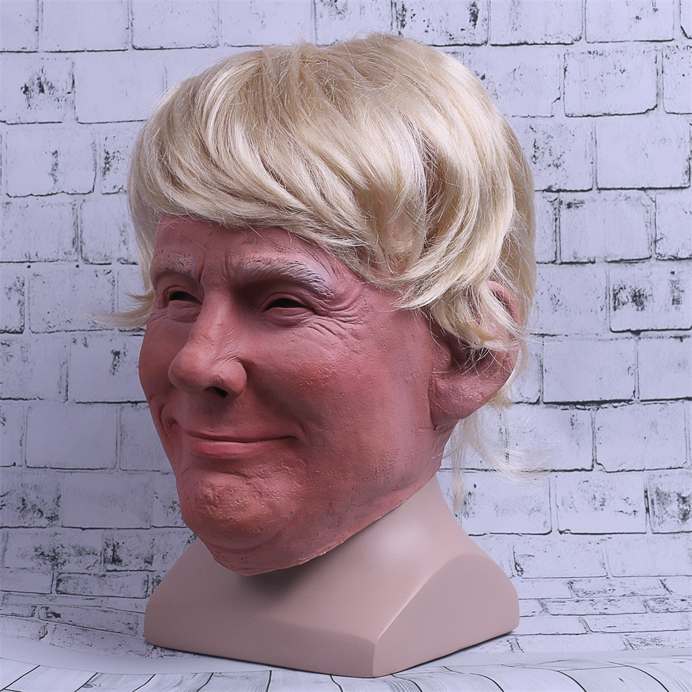 Realistic Trump Mask Putin Mask Presidential Costume Adults Halloween Deluxe Latex Full Head Donald Trump Mask with Hair 3