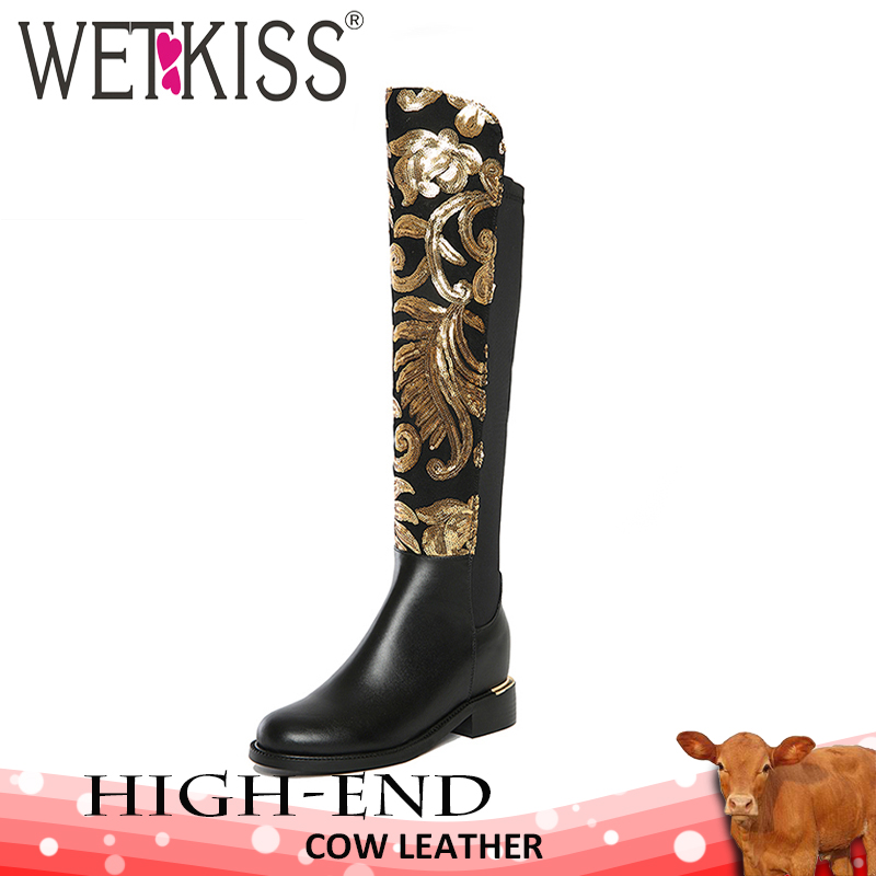 WETKISS/Роскошные дизайнерские женские сапоги до колена, украшенные золотыми блестками, из натуральной кожи, эластичные осенне-зимние вечерни...