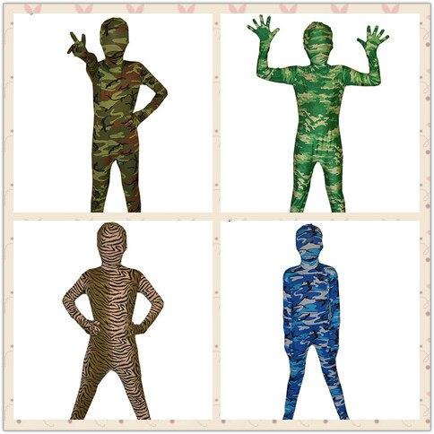 (KC971)Children Halloween Full Body Lycra Spandex Camouflage Pattern Zentai Suit Celebration Costume Bodysuit