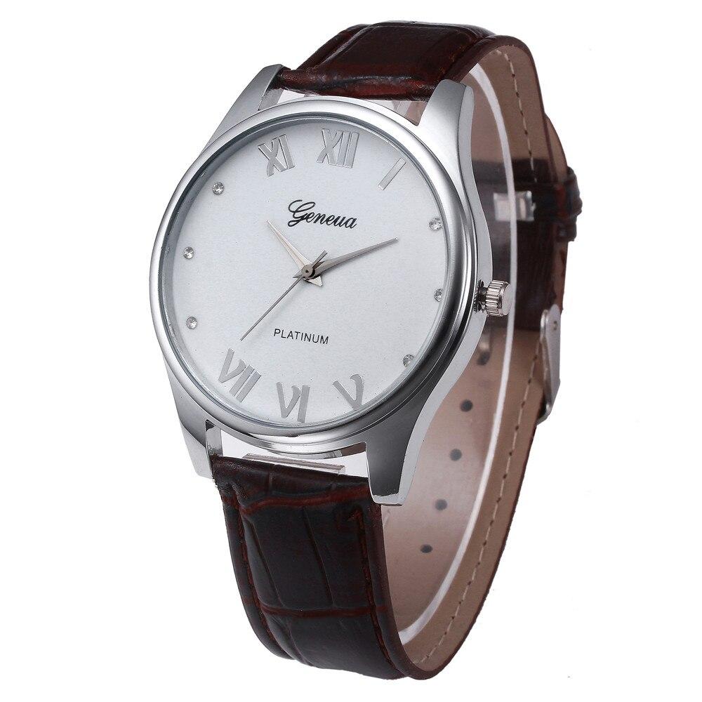 1f790490490 Nuevos hombres del reloj de los nuevos hombres correa de cuero marrón negro dial  cuarzo reloj de cuarzo relojes Relogio masculino  1129