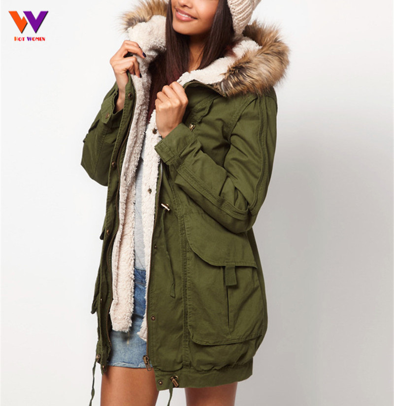 2ecf4dc5e79 HOTWOMEN Faux Fur Lining Women's Fur Hoodies Ladies Coats Winter Warm Long Coat  Jacket Cotton Clothes Thermal Parkas HW74G3B