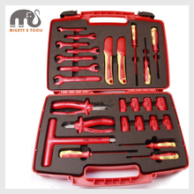 26pc VDE Insulated Electrician Tool Set Pliers Spanner Socket Screwdriver Knife Hybrid Car Repair Tool Ratchet