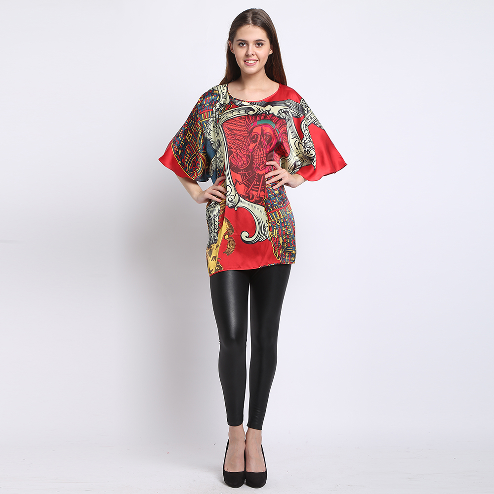 100% Silk Blouse Natural Silk Fabric Flowers Printed Women Summer Tops Party cloth Comfortable Cool Blouses