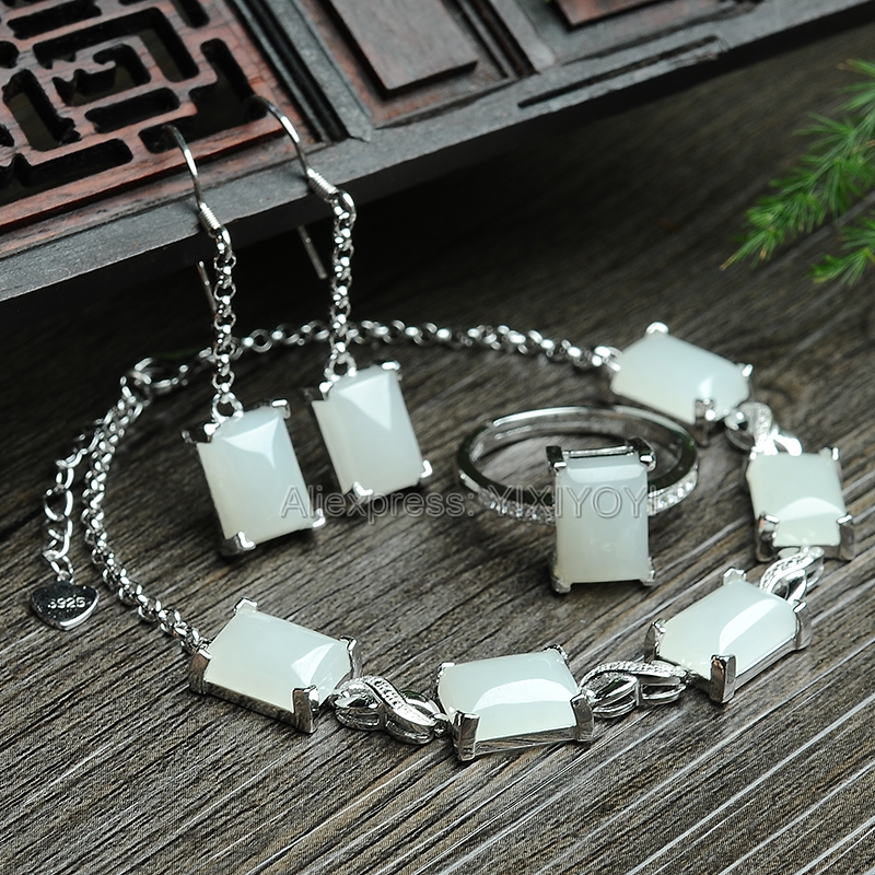 Elegant 925 Silver Natural White HeTian Jade Square Beads Inlay Dangle Lucky Bracelet Earring Ring Woman's Fine Jewelry Set 925 silver natural white white hetian jade beads inlay flower dangle lucky pendant necklace ring elegant woman s jewelry set