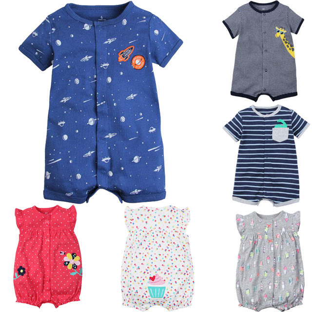 100% القطن الرضع الطفل ملابس الأولاد الصيف قصيرة الأكمام السروال القصير المولود الجديد الجسم الملابس الكرتون بيجاما للحيوانات لطفلة