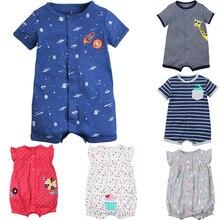 100% algodão infantil meninos roupas de bebê verão macacão de manga curta  bebê recém- e814e4b018a