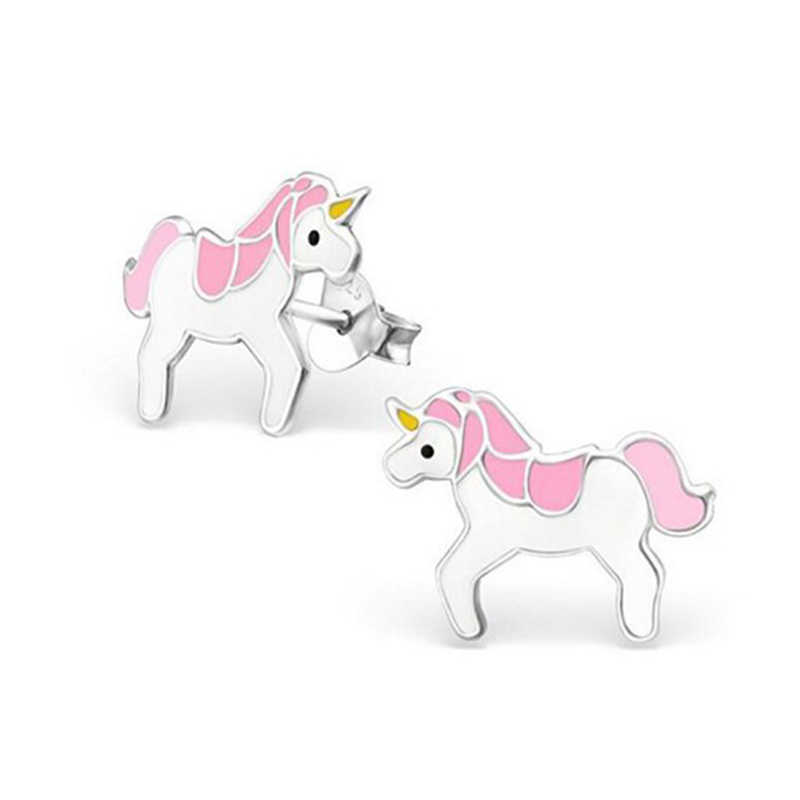 Cartoon Cute Unicorn Stud Earrings For Women Girls Party Jewelry Gift 4 Colors