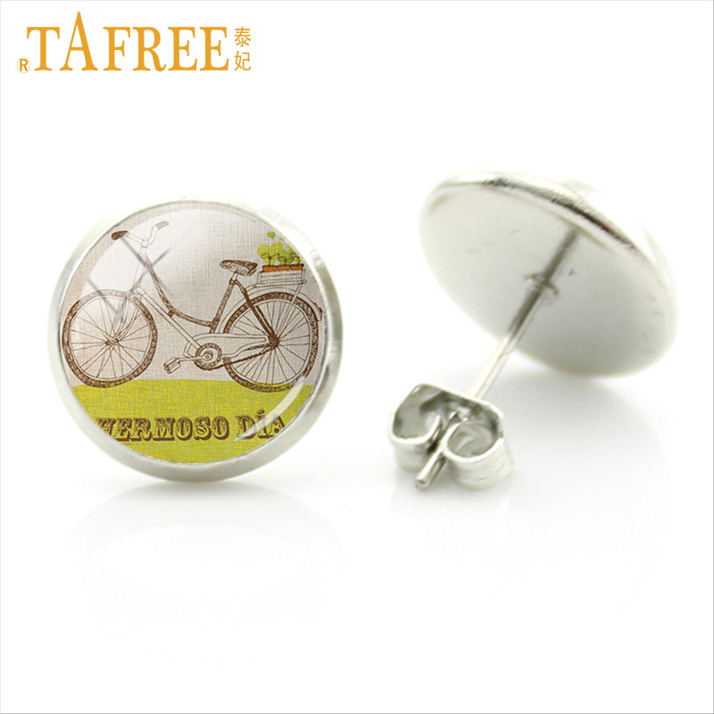 TAFREE Novel Bicycle Earrings simple style of painting Pins art picture glass cabochon handmade charm for women men jewlery A51