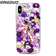 XINGDUO Luxury DIY Diamond Purple Flowers Bling Rhinestone Butterfly Cases for iPhone XS MAX XR XS X 7 8 Plus 6 6S 6 Plus 5 5s ножницы purple dragon 6 0 5 5 diy g005