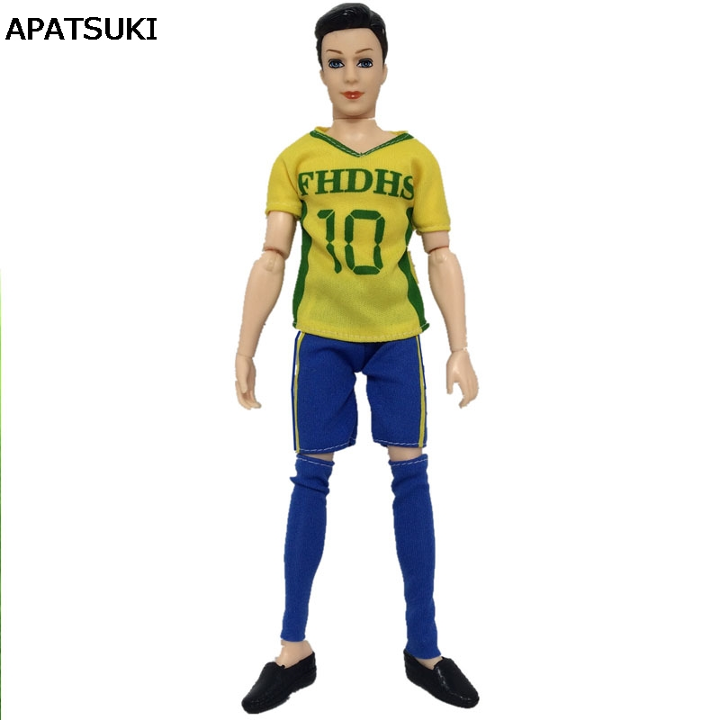 554a7931f1409 US $1.94 41% OFF|1set Sport Wear For Ken Doll Yellow No.10 T Shirt + Short  + Socks For Barbie's Boyfriend Ken Doll Male Doll Clothes 1/6 Kids Toy-in  ...