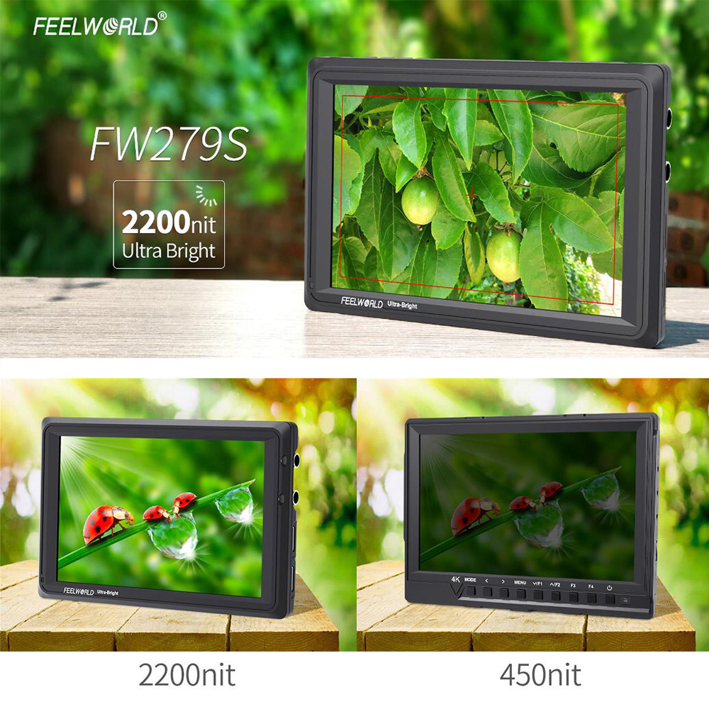 FEELWORLD FW279S with Dual L bracket7 Inch IPS 2200nits 3G-SDI 4K HDMI Camera Field Monitor 1920X1200 DSLR Monitor for Shooting