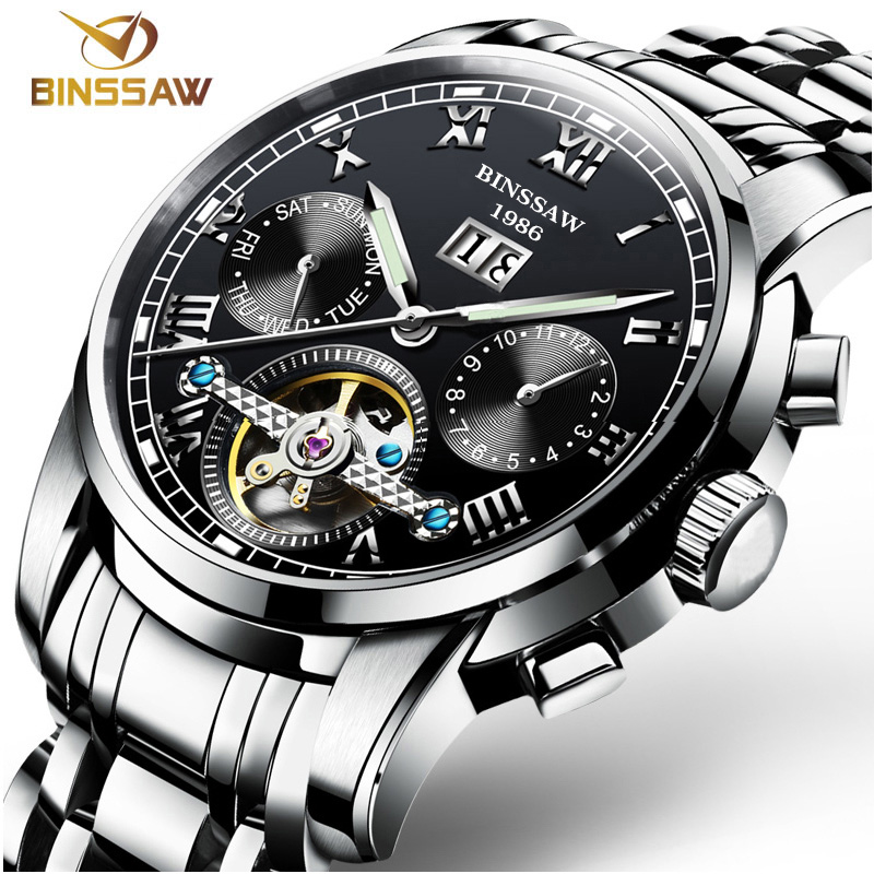 BINSSAW Tourbillon Men Automatic Watches Top Brand Mechanical Stainless Steel relojes masculino Luxury Mens Business Wrist