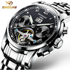 BINSSAW Men Watches Automatic Mechanical Stainless Steel Watch Tourbillon Relojes Top Brand Luxury Casual Business Wristwatch