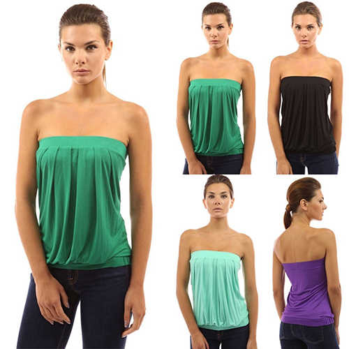 Sexy Women Solid Color Strapless Tube Bandeau Top Elastic Pleated Summer Blouse