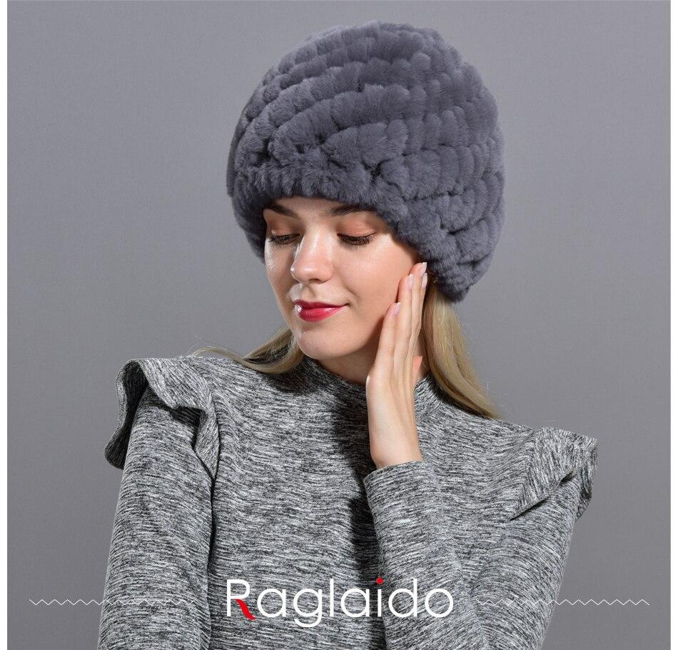 Raglaido Rabbit winter fur hat for Women Russian Real Fur Knitted Cap headgea Winter Warm Beanie Hats 2019 fashion brand LQ11279 14