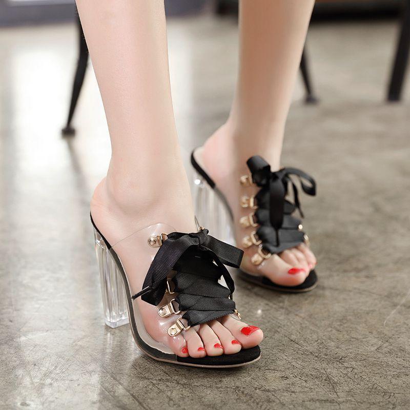 2ec1efbe874 Lacets Plate Cristal Toe forme Talons De Bloc À Sandales 2019 Femmes  Chaussures noir Hauts Femme ...