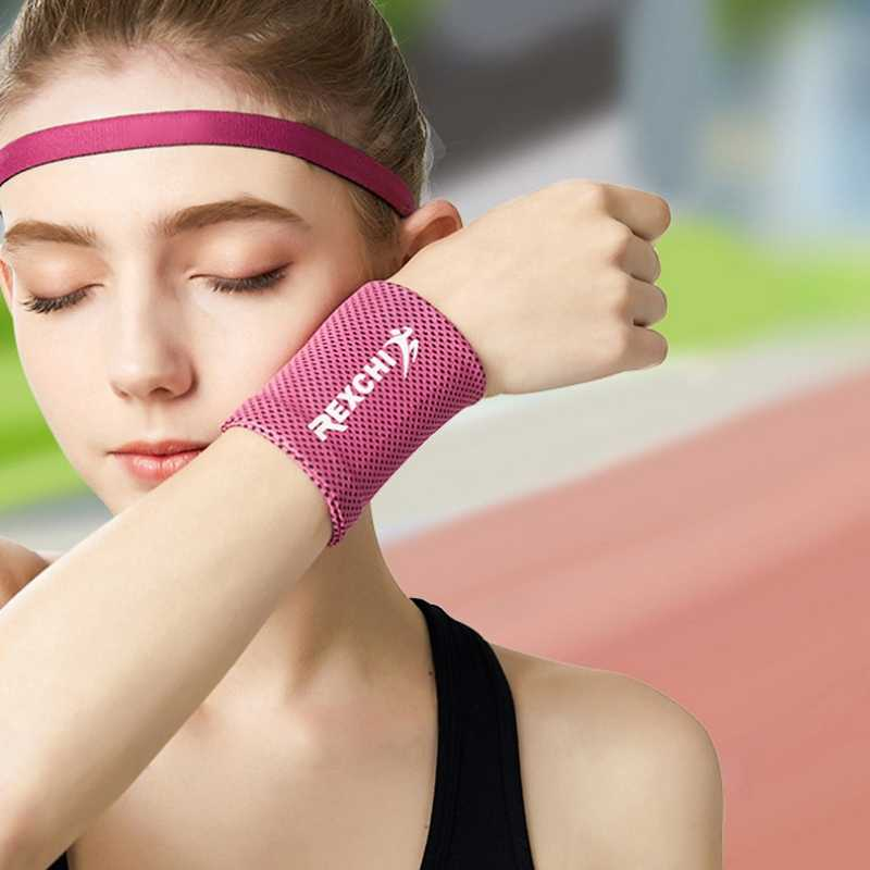 Hot Pols Brace Ondersteuning Ademende Ice Cooling Tennis Polsband Wrap Sport Zweetband Voor Gym Yoga Volleybal Zweet Band
