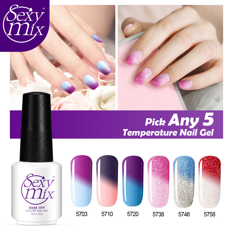 Gel Nail Polish Sale: Hot Sale Color 7ml Nail Gel Polish 5 Pcs/Lot Temperature