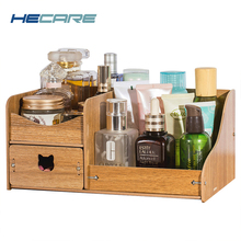 HECARE Wooden Storage Box for Makeup Home Office Desktop DIY Organizer with Drawer 4 Colors Available Small Case NEW