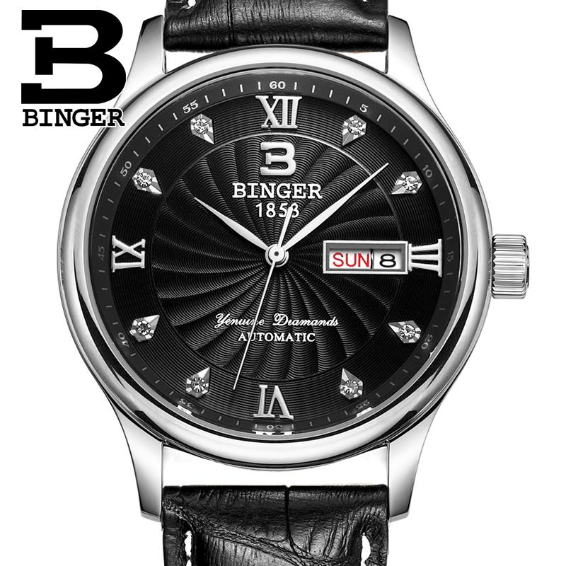 Switzerland men Wristwatches luxury brand watches BINGER luminous Quartz Wristwatches leather strap Waterproof B603B 9