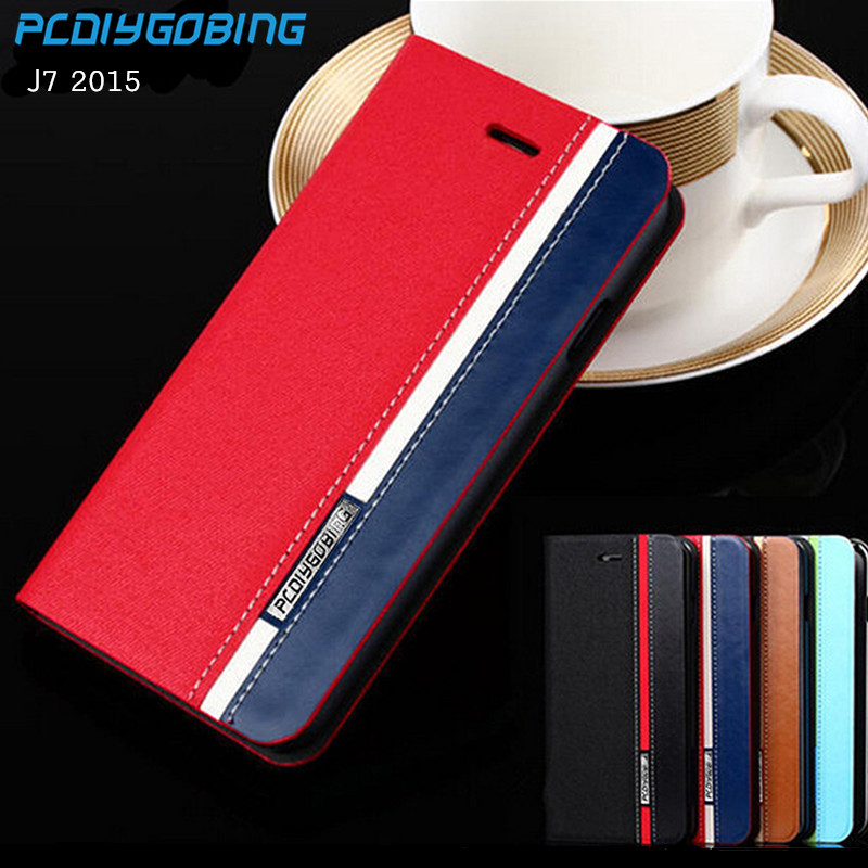 Business & Fashion Flip Leather Cover Case For Samsung Galaxy J7 (2015) J700F Mobile Phone Cover Mixed Color card slot
