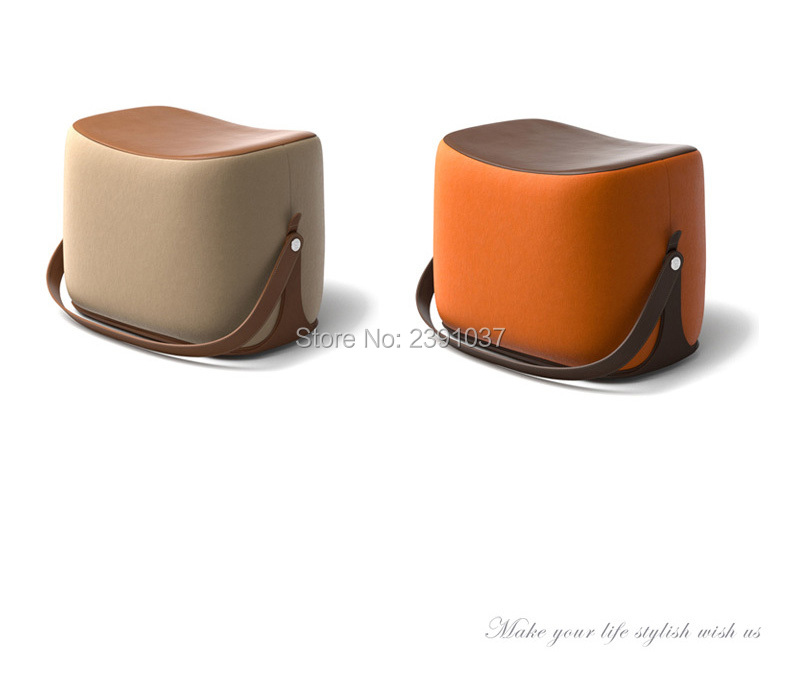 New Creative Modern Sofa Ottoman Stool Portable Handle Saddle Foot Stool 7 Colors Microfiber Leather Cashmere Living Room Stool hot selling fine workmanship high quality fashion modern shoes stool fabric creative footstool living room sofa stool ottoman