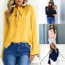 ZOGAA 2019 New Spring Summer and Autumn Fashion Casual Trend Bow Trumpet Sleeve Bottoming Shirt T-shirt Tops 4 Color Size S-2XL