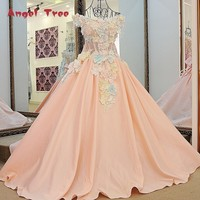 Lovely pink flowers evening dress floor length short sleeves corset back ball gown prom dress 2018 100% real photos