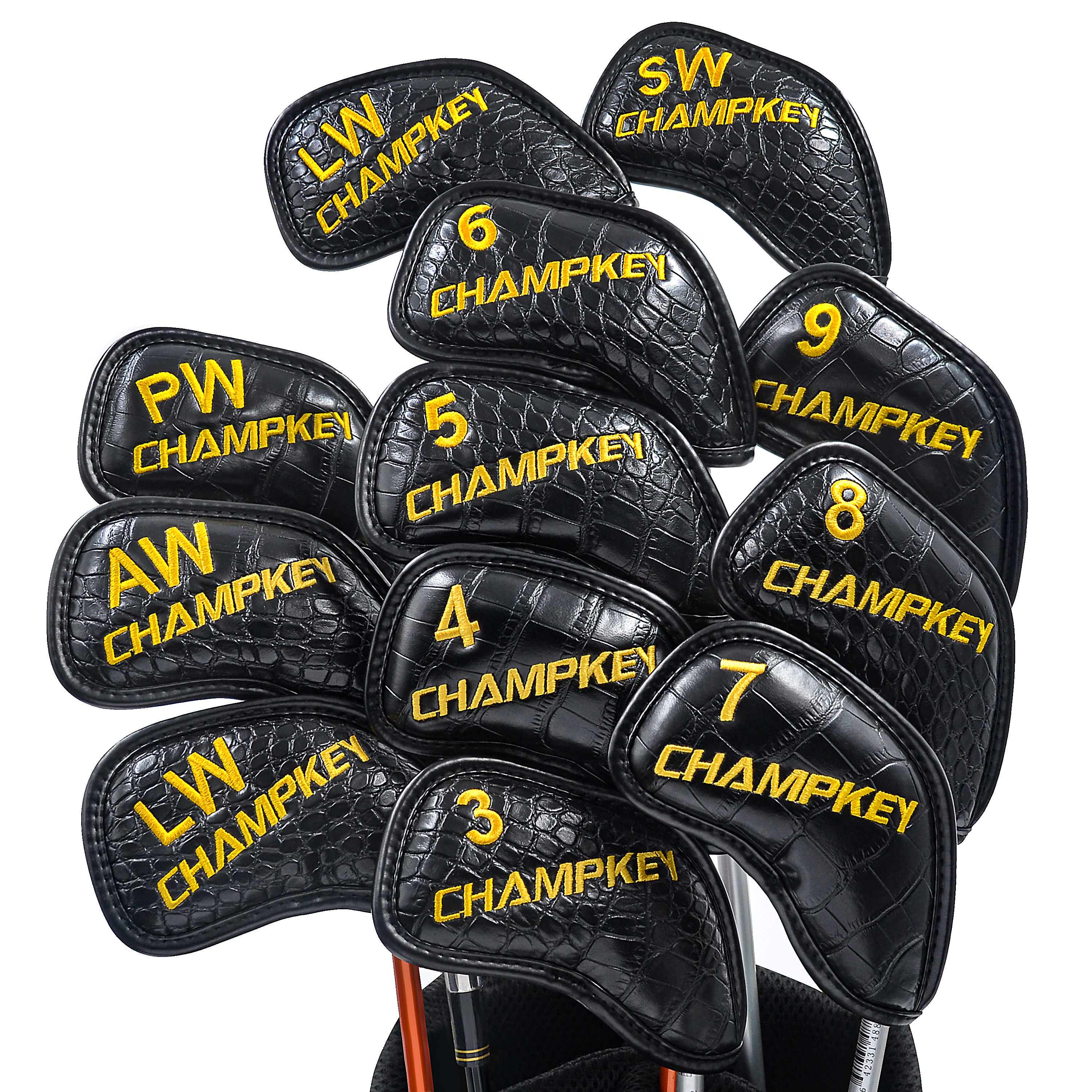 2019 NEW Champkey Monster Golf Iron Head Cover Pack Of 12pcs - Premium Polyurethane Plus Memory Material Club Covers