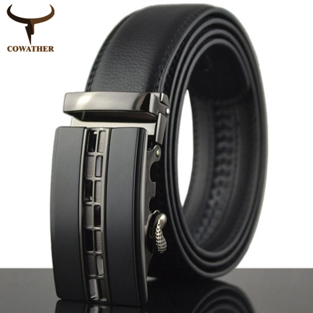 COWATHER 2016 Automatic Buckle Metal Belts for Men Genuine Leather Belt high grade new style  Leather Men  Belts free shipping