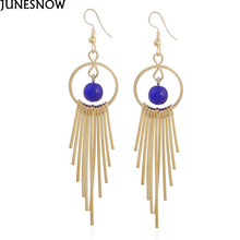 JUNESNOW Tassel Long Earrings Female Fashion Jewelry silver Bright Beads Exaggerated Punk Chain Dangle  EA011