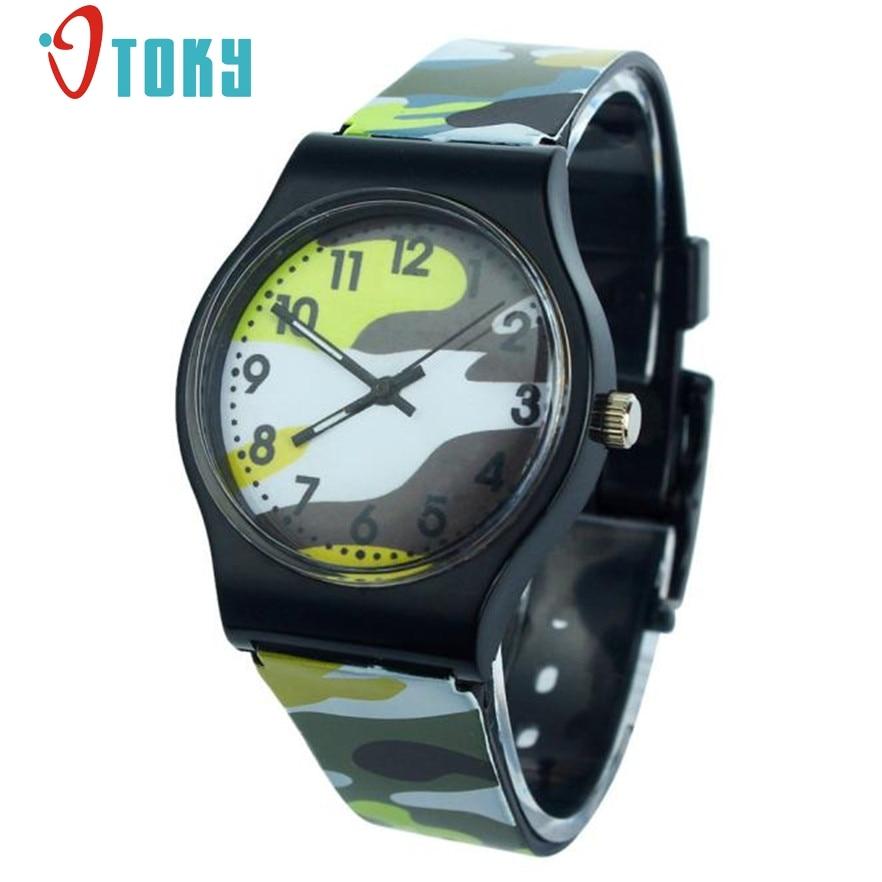 Otoky Camouflage Children Silicone Band Watch Quartz Wristwatch Relogio For Kids Girl Boy #40 Gift 1pc