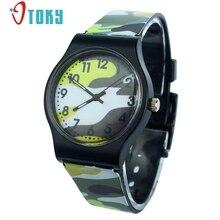 Otoky камуфляж дети силиконовой лентой часы кварцевые наручные часы Relogio для детей для девочек и мальчиков #40 подарок 1 шт.