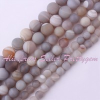 Free Shipping 6 10mm Frost Stripe Gray Round Agate Gem Stone For DIY Necklace Bracelet Jewelry