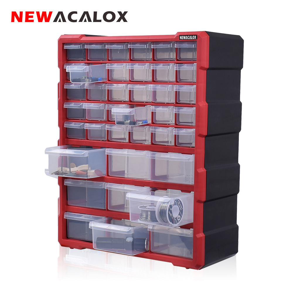 NEWACALOX Wall Mounted Toolbox Drawer Plastic Parts Storage Hardware Box Craft Cabinet Screw Containers Component Storage