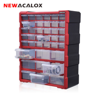 NEWACALOX Wall Mounted Toolbox Drawer Plastic Parts Storage Hardware Box Craft Cabinet Screw Containers Component Storage Case