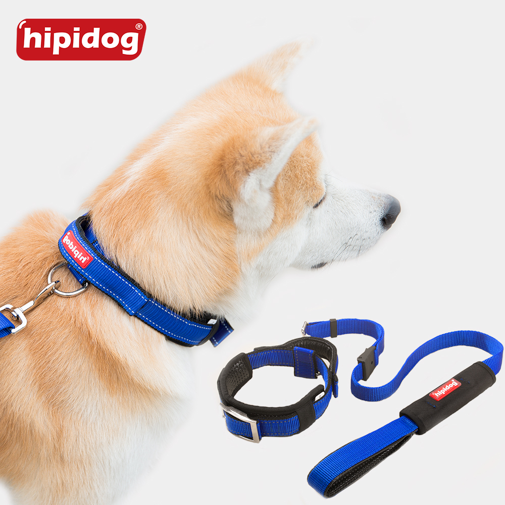 Hipidog Dog Collar Nylon Harness Adjustable Durable Leashes Set Pet Safety Belt Lead For Training Walking