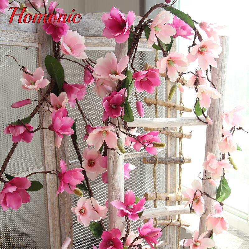 Acheter Artificielle Magnolia Soie Faux Fleur Branche Fleur Artificielle Flores Organiser Magnolia De Mariage Home Decor Parti fournitures 1.8 m de Artificielle et Fleurs Séchées fiable fournisseurs