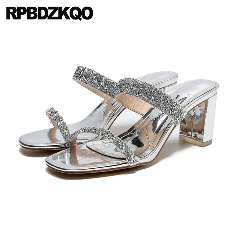 c8865738777491 High Heels Diamond Square Shoes Slipper Silver Slides Wedding Crystal Pumps  Chunky Rhinestone Designer Sandals Women Luxury 2017
