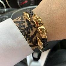 купить Luxury Brand man genuine leather braid handmade skeleton skull charm bracelet stainless steel bracelets bangles for men jewelry дешево
