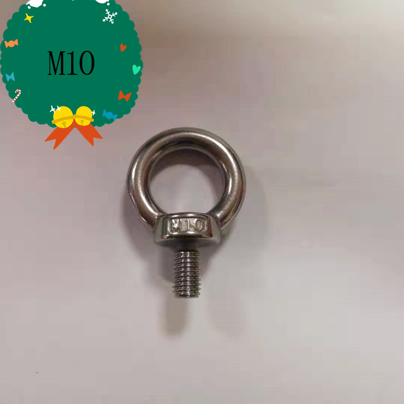 M10, 304  Stainless Steel Lifting Eye Bolts Ring Screw Loop Hole For Cable Rope Lifting