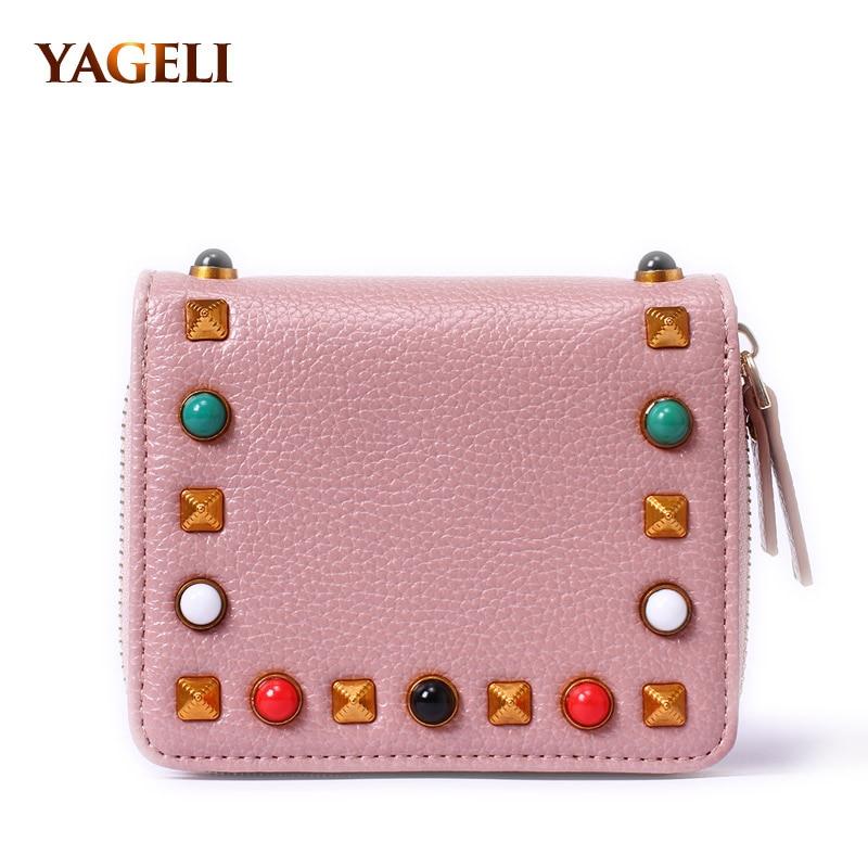 Famous Brand Designer Stud Women Wallet High Quality PU Artificial Leather Fashion Women Purse High Quality Fashion Women Wallet wallet