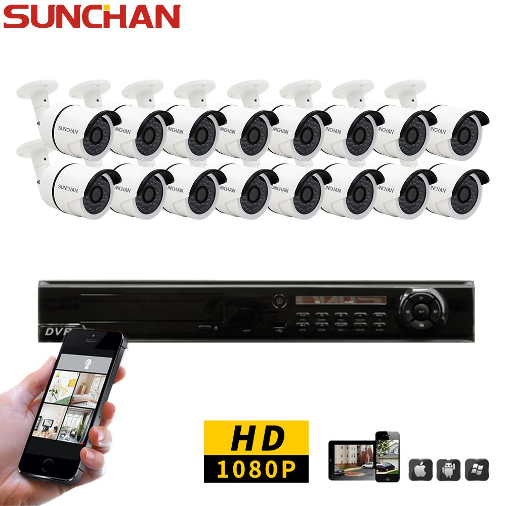 SunChan 16CH CCTV System 1080P HDMI AHD 16CH DVR 2.0 MP  IR Outdoor Security Camera 3000TVL Camera Surveillance System