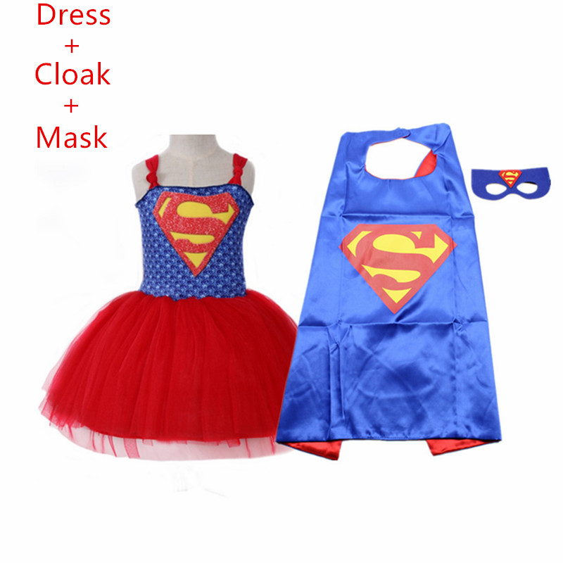 2019 Summer Superman Girls Tutu Dress with Mask Super Hero Inspired Baby Costume Kids Cosplay Christmas Carnival Halloween Dress