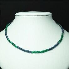 Винтажные классические ювелирные изделия из натурального камня, нежные сапфиры, изумруды, многоцветная цепочка с бисером, ожерелье чокер