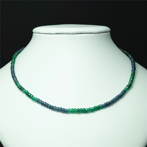 Image 1 - Vintage Classic Natural Stone Jewelry Delicate Sapphires Emeralds Multicolors Beaded Chain Choker Necklace
